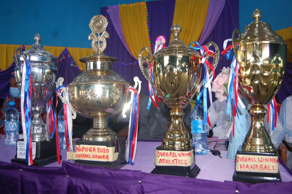 Some of the trophies won at the events on display during the ceremony